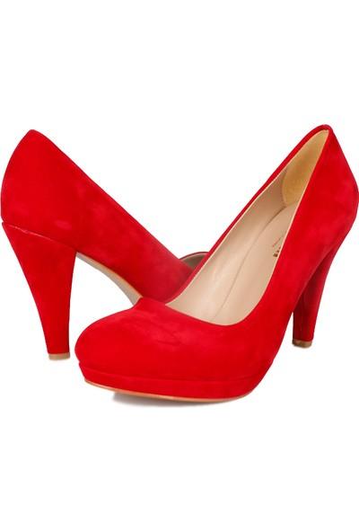 Loggalin 580401 031 527 Kadın Kırmızı Kadife Platform Ayakkabı