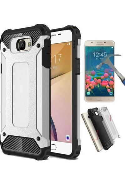 Teleplus Samsung Galaxy J7 Prime Çift Katmanlı Tank Kapak Kılıf + Cam Ekran Koruyucu