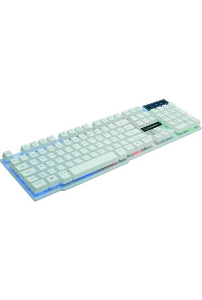 Gamemax FK-G500QU 3 Renk Işıklı Klavye USB Beyaz