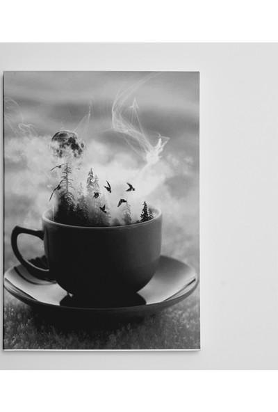 Dekolata Kahve Kuşlar ve Dolunay Kanvas Tablo