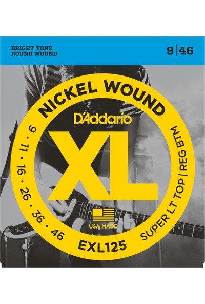 D'Addario EXL125 Super Light Top / Regular Bottom Elektro Gitar Teli (9-46)