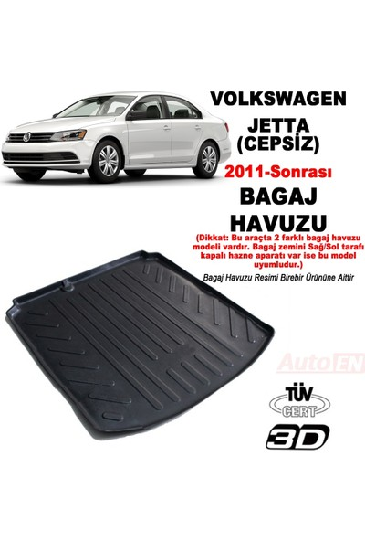 AutoEN VW Jetta 3D Bagaj Havuzu 2011- (Cepsiz)