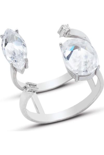 Bella Gloria Oval-Markiz Fantezi Gümüş Yüzük (GY00293)
