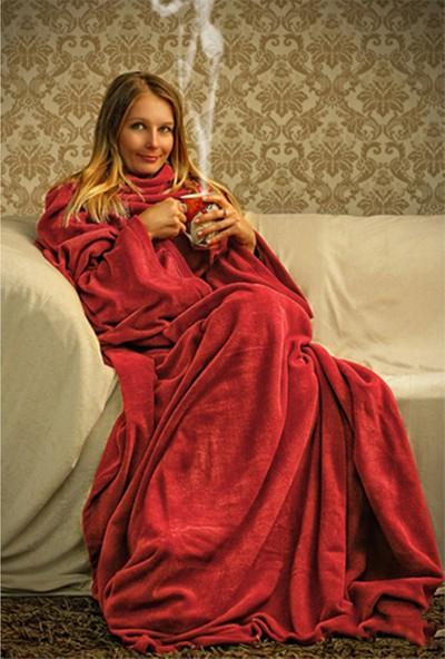Pratik Giyilebilir Kollu Battaniye - Kırmızı