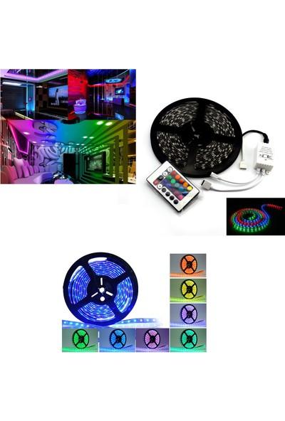 Yopigo Rgb Şerit Led İç Ve Dış Mekan 5 Metre Kumandalı Set Tak Çalıştır 16 Renk, 24 Tuşlu Kumanda, Adaptor, Silikonlu, 5Mt 300 Led