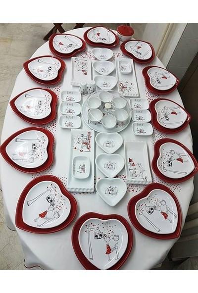 Keramika Peri Masalı 54 Parça 12 Kişilik Seramik Kahvaltı Takımı