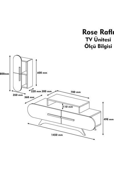 Variant Rose Duvar Raflı Tv Ünitesi Ceviz-Beyaz