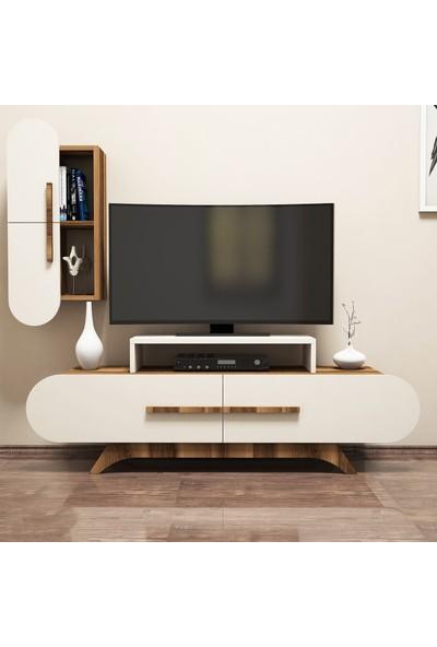 Variant Rose Duvar Raflı Tv Ünitesi Ceviz-Ekru