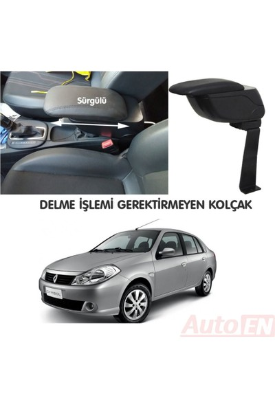AutoEN Renault Symbol 2 Sedan 2008-2012 Kol Dayama Kolçak Siyah Delme Yok!