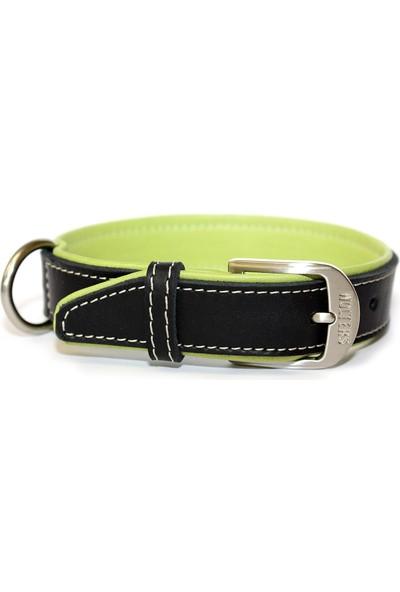 Wolters Leather Collar Terranova Flat 50Cm X 30Mm Sıyah/Yesıl