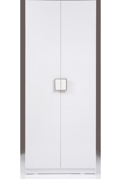Kenyap Plus 813048 Stella 2 Kapaklı 3 Çekmeceli Gardırop - Beyaz