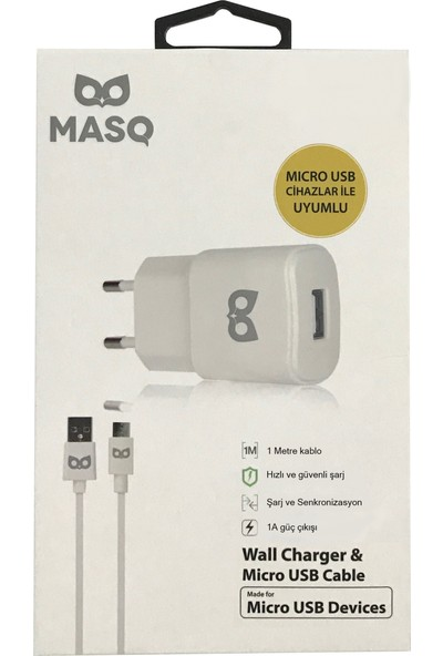 Masq 1A Wall Charger+1Mt Mıcro Cable