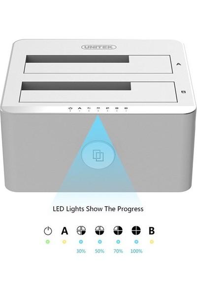 Unitek USB3.0 to SATA6G Dual Bay Alüminyum Dock (Offline Kopyalama Özelliği ile)