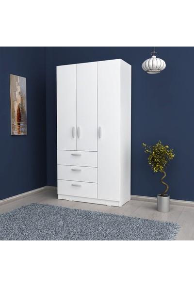 Hepsiburada Home 3 Kapaklı 3 Çekmeceli Gardırop - Beyaz