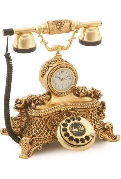 Anna Bell Saatli Güllü Varaklı Altın Telefon