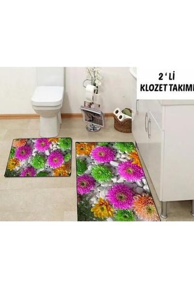 Else Halı 3 Boyutlu Çiçekli Klozet Takımı Banyo Paspas