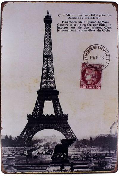 T-Bek Dekoratif Vintage Metal Pano Eifell Post 20X30