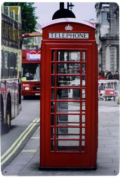 T-Bek Dekoratif Vintage Metal Pano England Telephone 20X30