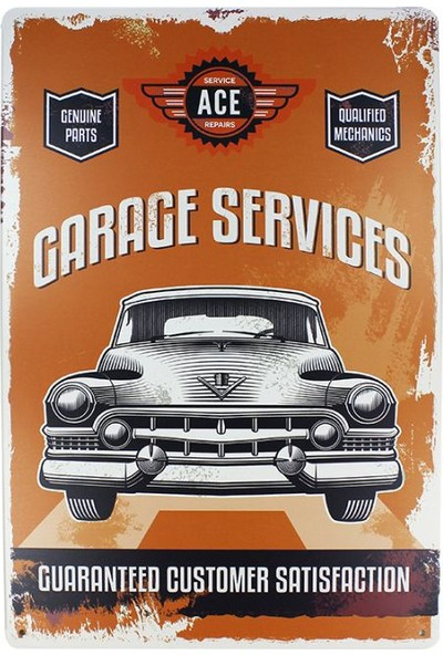 T-Bek Dekoratif Vintage Metal Pano Garage Services 20X30