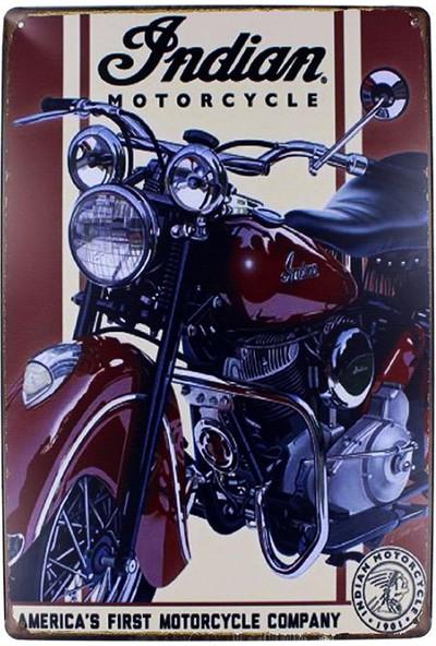 T-Bek Dekoratif Vintage Metal Pano İndian Motor 20X30