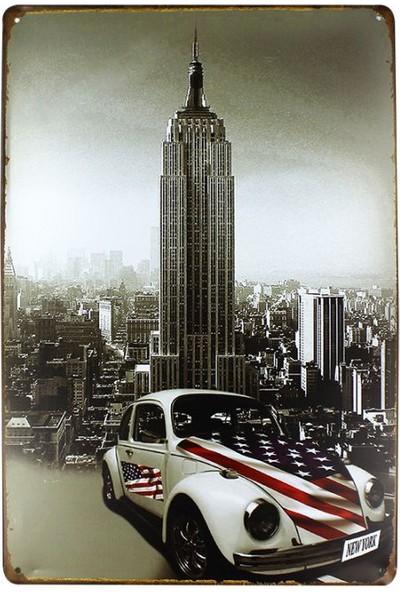 T-Bek Dekoratif Vintage Metal Pano Wtc Newyork 20X30
