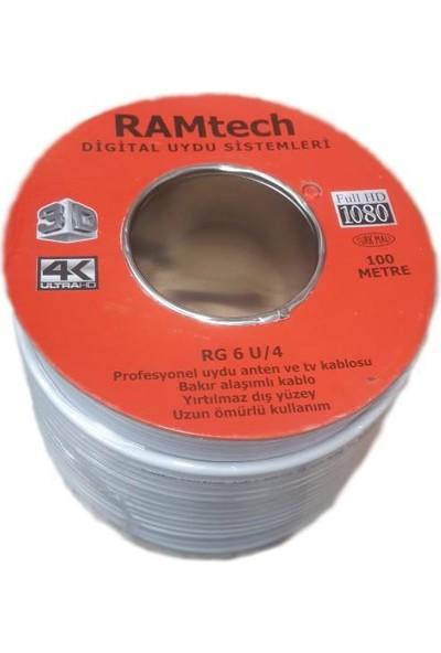 Ramtech Makaralı 100 Metre Çanak Anten Uydu Kablosu Rg6-U4 Fullhd 3D 4K