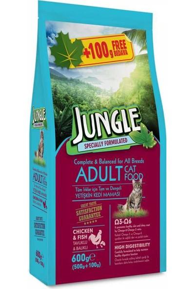Jungle Yetişkin Kedi Maması Tavuk ve Balıklı 600 g