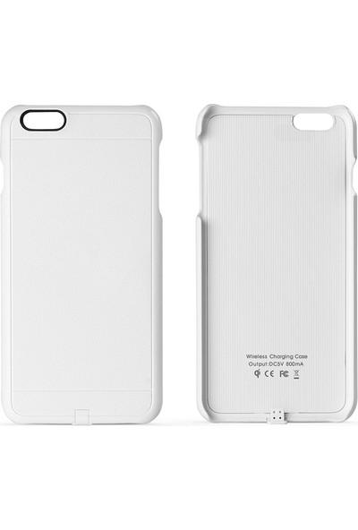 Fluxy iPhone 6 Plus/6s Plus Uyumlu Kablosuz Şarj Kılıfı - Beyaz