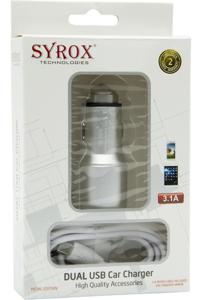 Syrox Htc Desire 320 Hızlı Araç Şarj Aleti Ek Kablolu