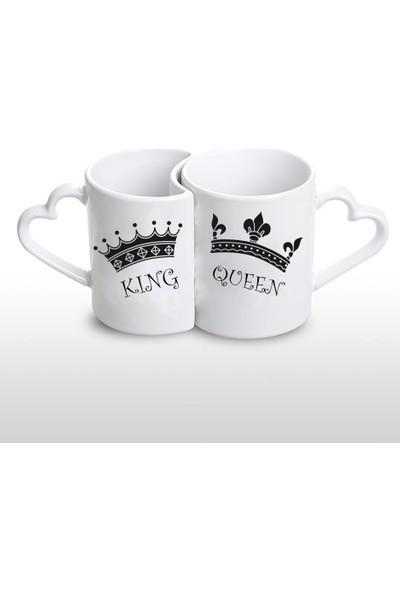 Fotografyabaskı King & Queen Sevgilinize Özel 2'li Kalpli Kupa Bardak Baskı
