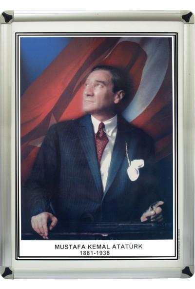 Martı Atatürk Portresi 35x50 Metal Çerçeve Duvara Monte