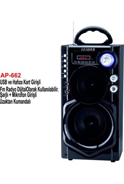 Leader AP-662 BT/Usb/Sd/Fm/Mikrofon Girişli Uzaktan Kumandalı Şarjlı, Bluetooth Taşınabilir Ses Sistemi