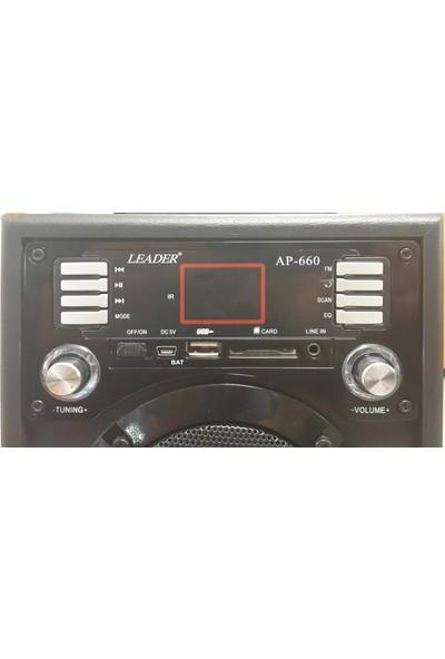 Leader AP-660 Usb/Sd/Fm Uzaktan Kumandalı Şarjlı, Taşınabilir Ses Sistemi