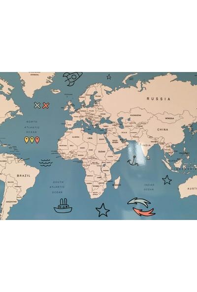 Mapofx Gez-Boya Harita - Boyanabilir Dünya Haritası (Mavi - Sert Zeminli)