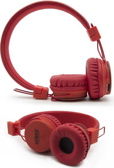 Syrox S15 Kablosuz Bluetooth Kulaklık Kulak Üstü Kırmızı