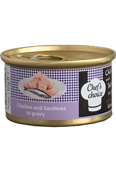 Chefs Choice Chicken With Sardine In Gravy Soslu Tavuk Ve Sardunya Tahılsız Kedi Konservesi 80Gr