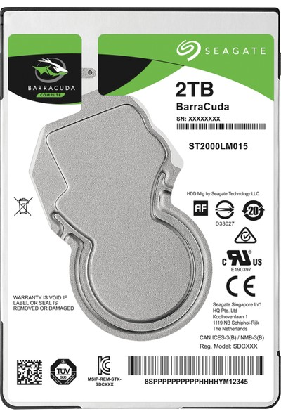 "Seagate Barracuda 2TB 2.5"" 5400RPM 128MB Cache Sata 3 Notebook Diski ST2000LM015"