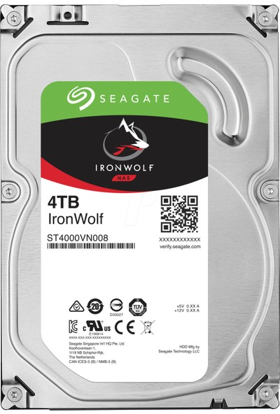 "Seagate IronWolf NAS HDD 4TB 3.5"" 5900RPM 64MB Cache Sata 3 Sabit Disk ST4000VN008"