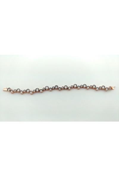 Adorno 925 Ayar Rose Altın Kaplama Üzeri Zirkon Taşlı Elmas Modeli Işık Seli Bileklik