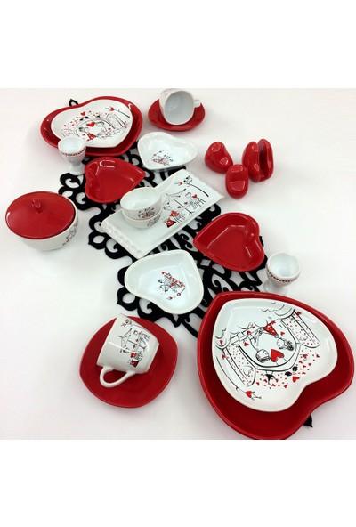 Keramika 22 Parça 2 Kişilik Seramik Kalp Kahvaltı Takımı