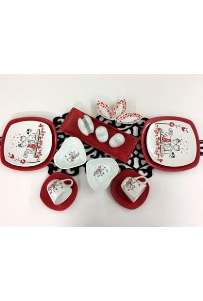 Keramika Sevgili 17 Parça 2 Kişilik Seramik Kahvaltı Takımı