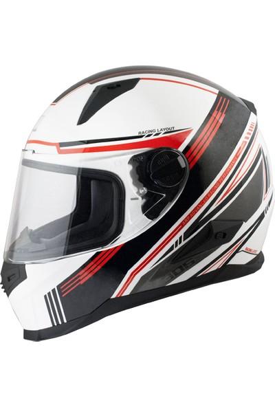 CGM Stoccarda Kapalı Motosiklet Kaskı Kırmızı Beyaz 305G-CLA-85C Medium
