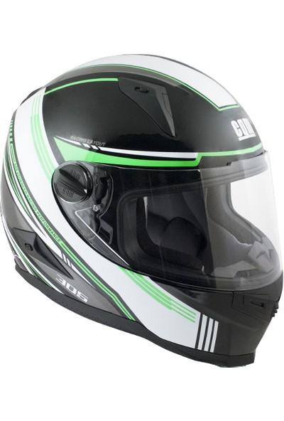 CGM Stoccarda Kapalı Motosiklet Kaskı Siyah-Yeşil 308G-CLA-89B Small