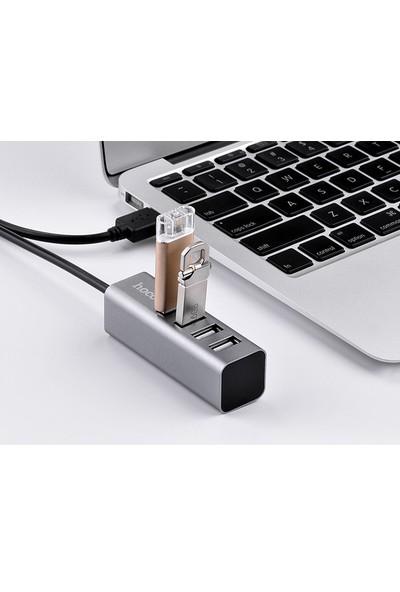 Hoco 4 Port USB Çoklayıcı Alüminyum Gövdeli Koyu Gri