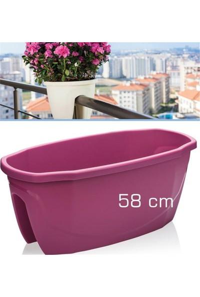 Homecare 6'lı Paket Korkuluk Küpeşte Saksı Vişne Renk 58 Cm 091966