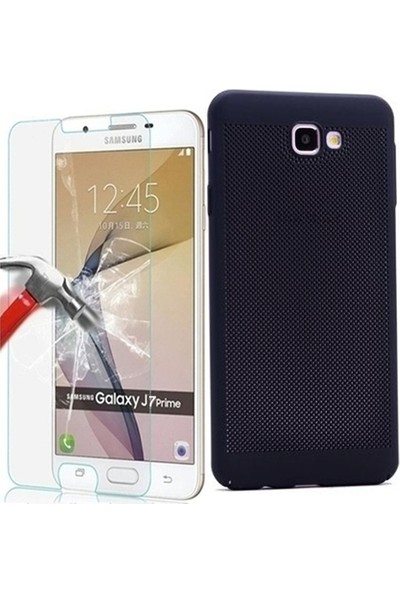 Tg Samsung Galaxy J7 Prime Delikli Sert Kılıf + Ekran Koruyucu