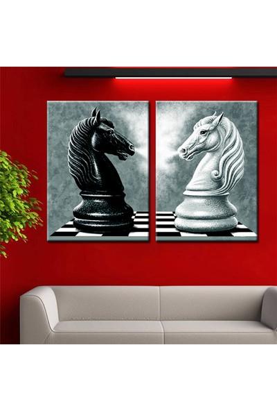Eslim İ717 Siyah Beyaz Atlar Parçalı Tablo 70X100 Cm