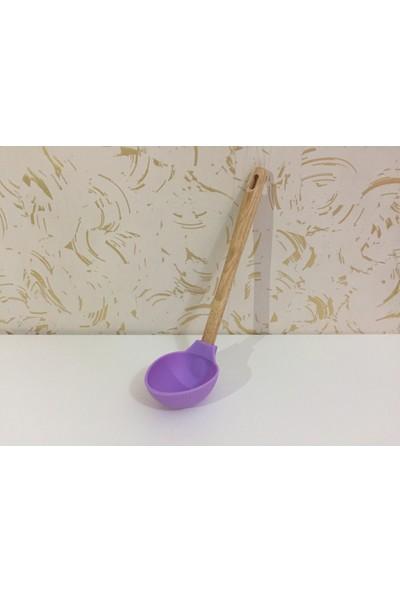 d-sign home Bambu Saplı Silikon Kepçe - Lila