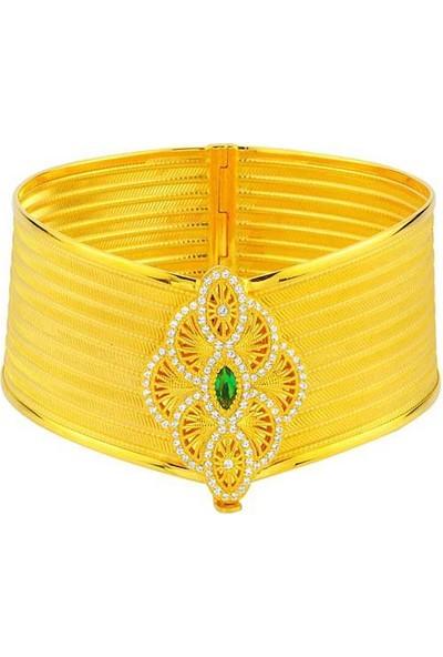 Bilezikhane Yeşil Taşlı 9 Sıralı Hasır Kelepçe 22 Ayar Altın