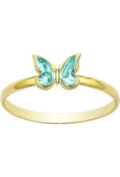 Altında Moda Mavi Mineli Kelebek Yüzük